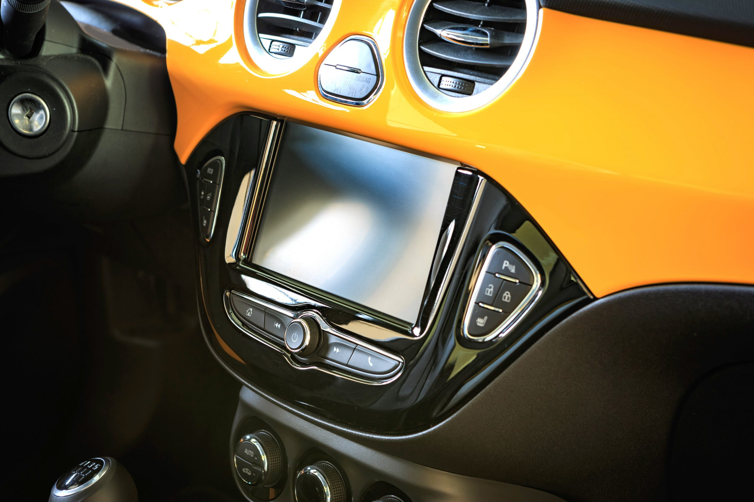 RUESSELSHEIM, GERMANY - CIRCA JULY 17: The interior view with cockpit of Opel Adam