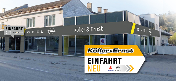 Autohaus Köfler neue Einfahrt